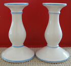 Pair of Handmade Pottery Blue and White Candlesticks from Portugal Vintage