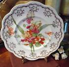 DIXIE East Palestine Pottery Co. Scalloped Gladiola Plate~Gold Garland~c.1898