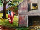 ORIGINAL Barn Landscape Watercolor Painting JMW art John Williams Impressionism