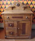 Early Victorian Commode, Wash Stand Back Splash w/Candle Stands 3 drawer 1 door
