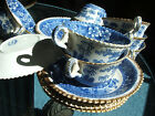 7 EARLY SPODE medium blue Tower GOLD TRIM cups + 7 saucers