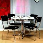 Dining Vintage Table 4 Chairs Set Kitchen Chrome Dinette Furniture Retro Bistro