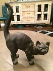 Vintage Cast Iron Black Cat Arched Back Door Stop - Hubley? - Halloween