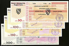 BOSNIA OVERPRINT - SET of 4 YUGOSLAVIA Promissory Notes/Bonds 50-200 dinars 1993