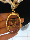 Authentic Chanel Logo Oval Huge Gold Color Charm Pendant