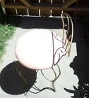 Vintage 60s WROUGHT IRON VANITY STOOL Hollywood Regency Swivel CHAIR Cushion