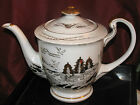 Hayasi Kutani Lithophane Teapot Gold Trim on Fine China, Scene of Japanese Home