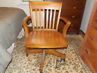 Late 1800's  American Antique Oak Swivel Rocking Desk Chair