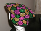 GLITZY GREEN GOLD PURPLE SEQUIN BRANDO HAT NEWSBOY MARDI GRAS PARADE COSTUME !