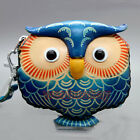 Fashion Blue Owl Genuine Leather Money Coin Key Purse Wallet Kid Women Lady ZP95