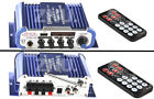 Blue 2CH Hi-Fi Audio Stereo Amplifier AMP For Car Motorcycle W/Microphone Jack