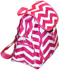 Super Cute PINK & WHITE CHEVRON BACKPACK SCHOOL Campus Purse TRAVEL Bag CARRY ON