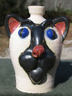 CAT FACE JUG southern pottery ceramic folk art animal kitty hello siamese ugly