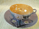 Japanese Blue and Orange Lustreware Cup and Saucer,Apple Blossoms