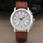Luxury Sport Military Quartz Dial Clock Men Wrist Watch Round Case Brown Leather