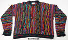 VINTAGE COOGI AUSTRALIA 3D ABSTRACT CABLE KNIT SWEATER SWAG BIGGIE TISA 21025