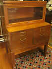 Vintage Walnut Stacking File Unit Bookcase Section & 2 Filing Draws