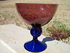 Awesome Vintage Amethyst & Cobalt Blue Czech Crystal Bowl Compote Dish
