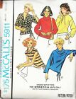 Vintage McCall's 5911 Pattern for knit tops. Miss. Sz. Med.1978. 4 sleeve styles