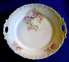 Vintage Plate with Roses, Beaded Border Slot Handles Antique Charger