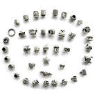 40pcs Antique Silver Plated Oxidized Metal Bracelet Beads Charms Set New
