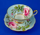 Signed A. Taylor Handpainted Floral Rose Bouquet on Blue Foley Tea Cup &  Saucer