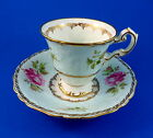 Rare Textured Floral Rose Bouquet on Blue Foley Tea Cup and Saucer Set