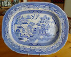 Antique 19thC Blue Willow Staffordshire Transferware Platter by ROBINSON