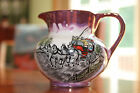 Old Castle Pink Copper Lustre Pitcher with Horse and Carriage