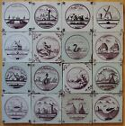 12 ANTIQUE DUTCH DELFT TILES 18th/19th century ASSORTED LOT