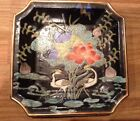 VINTAGE JAPANESE CERAMIC SQUARE PLATE TRAY - BLACK WITH CRANES AND FLOWERS