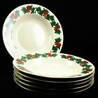 Libbey Holly Berry Ribbon Gold Rim Holiday Christmas Rimmed Soup Bowl - Qty 6