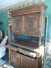 19TH CENTURY 3 SECTION LARGE  CARVED FRENCH WALNUT  CABINET, SIDEBOARD