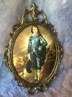 VINTAGE HOMCO ORNATE OVAL METAL PICTURE FRAME W CONVEX GLASS, Made In ITALY, BOY