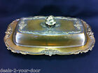 Vintage 3 Piece Rose Embossed Floral SilverPlate Covered Butter Dish w/ glass