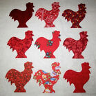 Set of  9  Mixed Red Rooster Chicken Fabric Appliques    *Just Iron Them On*