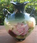 BEAUTIFUL Antique IOGA WARWICK China VASE ROSES HANDLED F2 GREEN Floral