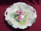 Vintage RS Prussia Porcelain Handled Cake Plate Pink Poppie with Iris Mold