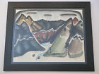 KIMO MARTIN VINTAGE 1940'S AMERICAN MODERNISM MOUNTAIN LANDSCAPE WPA PAINTING