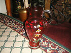 Lovely Cranberry Glass Pitcher Vase-Painted Flowers-Applied Handle-LQQK