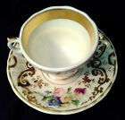 KPM Tea Cup+Saucer XLT Hand-Paint Flowers ANT Gold Decoration Footed White