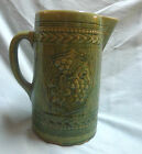 Vtg Antique McCoy Yellow Ware Stoneware Green Glazed Pitcher Grape Clusters