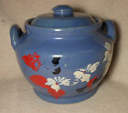 Vintage Blue USA Cookie Jar with Hand Painted Flowers
