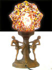1930s ART DECO LADY PIERROT DANCER LAMP STARBURST SPATTER END OF DAY GLASS SHADE