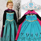 Girls Ice Queen Elsa Coronation Costume Party Dress with Cape & Tiara