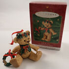 2001 Hallmark Ornament Gift Bearers Series #3 Holly Wreath Teddy Bear Porcelain