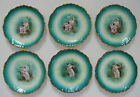 SET OF 6 ANTIQUE Green Porcelain Saucers CHERUB & GODDESS