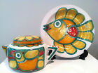 Desimone Pottery Italy Teapot + Matching Charger Picassoesque Design