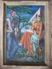AUTHENTIC WPA AMERICAN REGIONALIST Oil PORTRAIT YOUNG FAMILY IN LANDSCAPE 1940