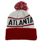ATLANTA Two Tone Pom (White/Red) Cuffed Bubble Knit Beanie Skull Cap